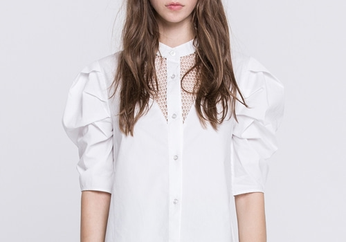 [GREY LAB]POPLIN SHIRT WITH MESH AND VOLUMINOUS SLEEVE_WHITE