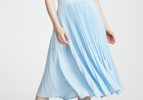 [ENGLISH FACTORY] LONG PLEATED SKIRT_dusty blue