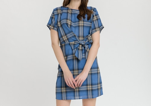 [AFTER MARKET] PLAID DRESS W TIE