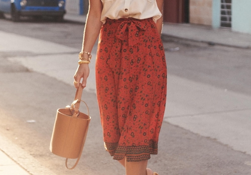 [Sezane]AMANDINE SKIRT_Flower version of the Havana tomette