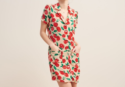 [ROUJE]CRISTINA DRESS_ECRU APPLE