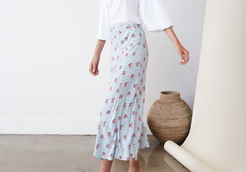 [RAGDOLL L.A]  MIDI SKIRT WITH SLIT Mini Floral