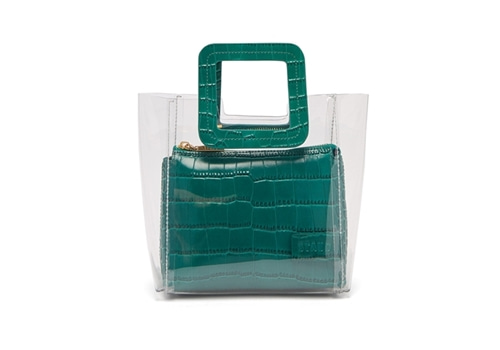 [STAUD]Mini Shirley leather & PVC tote bag_green