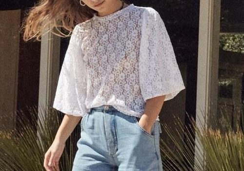 [RAGDOLL L.A]  LACE PUFF SLEEVE TOP _white