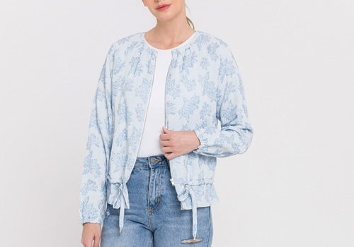 [ENDLESS ROSE]Floral Bomber Jacket