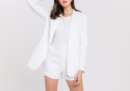 [ENDLESS ROSE]Single Breasted Blazer_WHITE