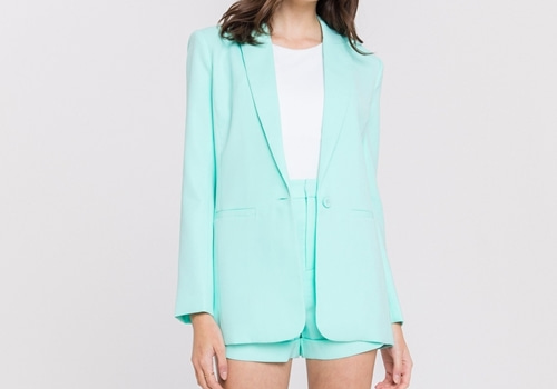 [ENDLESS ROSE]Single Breasted Blazer_AQUA
