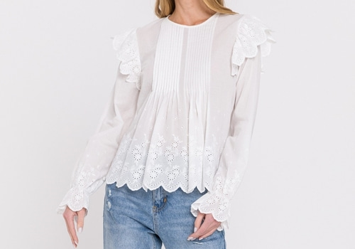 [ENGLISH FACTORY]Eyelet Pintuck Blouse