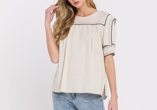 [ENGLISH FACTORY]Contrast Stitching Top
