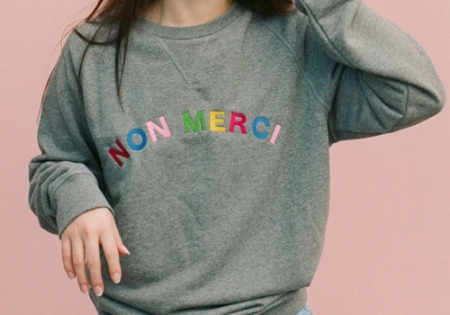 [OLIVE AND FRANK]Non Merci Embroidered Sweatshirt