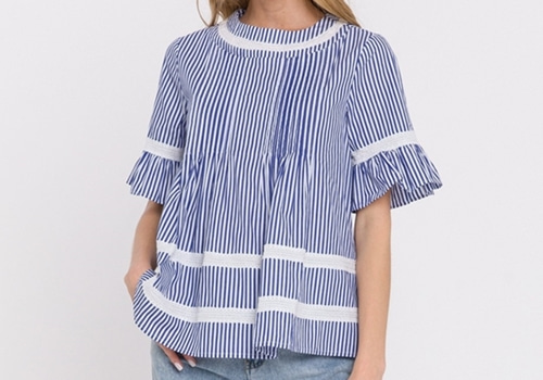 [ENGLISH FACTORY]Lace Trim Pintuck Blouse