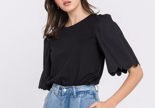 [ENGLISH FACTORY]Scalloped Sleeve Top_black