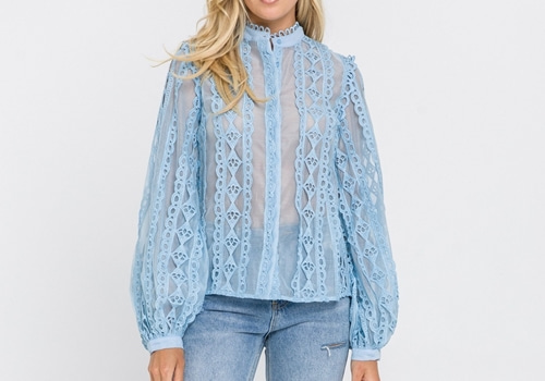 [ENDLESS ROSE] Lace Trimmed Collar Band Blouse