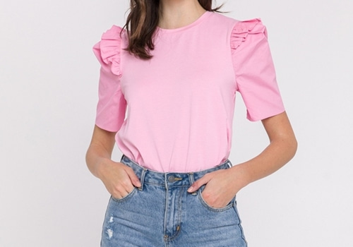 [ENGLISH FACTORY]Knit With Poplin Mixed Top_PINK