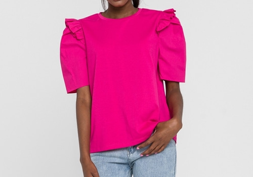 [ENGLISH FACTORY]Knit With Poplin Mixed Top_FUCHSIA