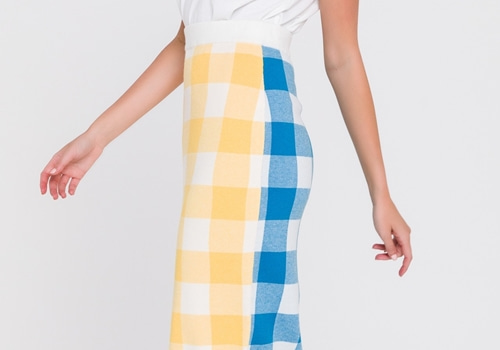 [ENGLISH FACTORY]Multi Gingham Pencil Skirt