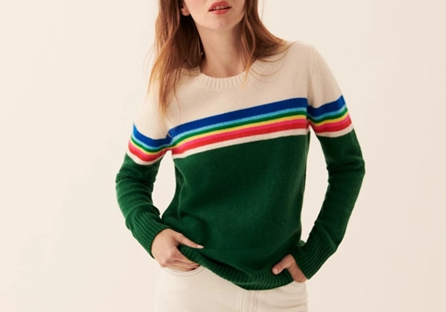 [FROM FUTURE]crewneck with Rainbow Stripes_GREEN