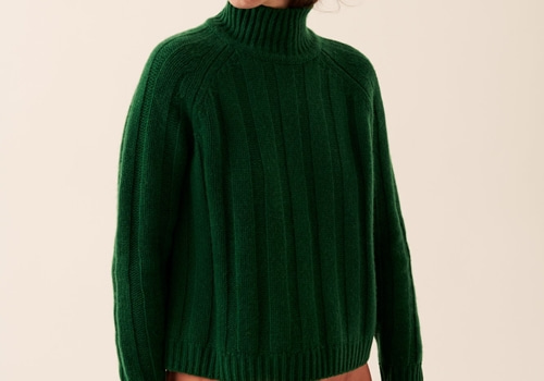 [FROM FUTURE]Ribbed Mock-Neck_GREEN