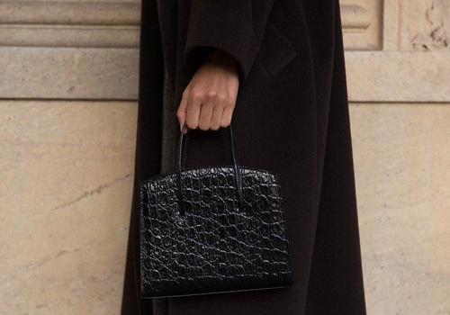 [LITTLE LIFFNER] MINIMAL MINI TOTE _BLACK CROC